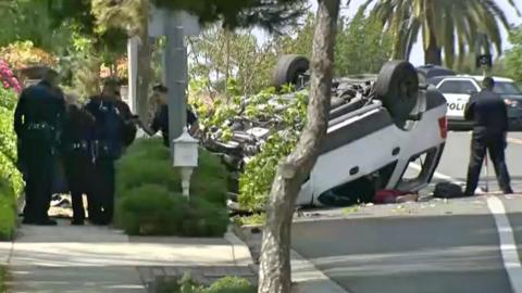 El vehículo volcó en una curva de Villaverde Drive.