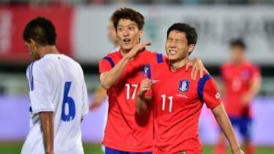 Tae-Hee celebra su gol contra Paraguay.