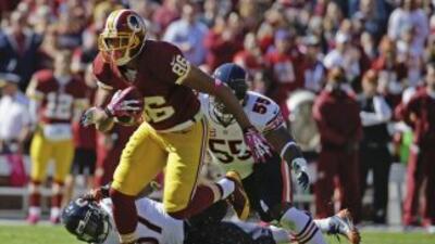 Jordan Reed no ha podido volver tras salir conmosionado (AP-NFL).