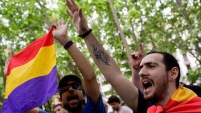 Unas quinientas personas se manifestaron por el centro de Madrid a favor...