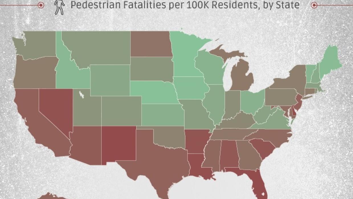 Mapa de muertes de peatones en EEUU en 2014 por 100,000 habitantes
