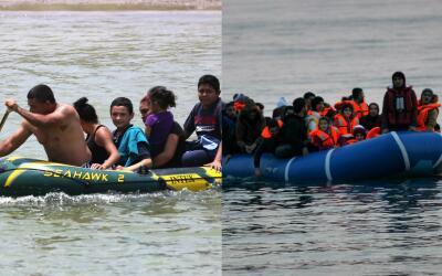 Un grupo de migrantes centroamericanos cruzan el Río Grande en Mi...
