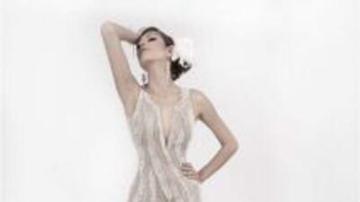 Diseño Karina, elaborado en tul y seda color piel, bordados en fantasía...