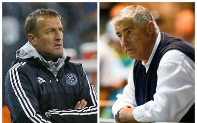 Jason Kreis y Sigi Schmid, entrenadores de NYCFC y Seattle
