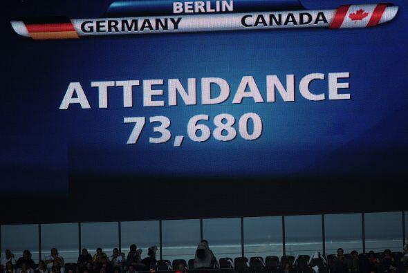 El cartel indicador del estadio olímpico de Berlín indica que más de 73...