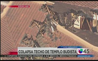 Colapsa techo de centro budista