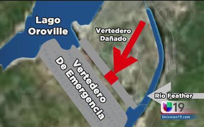 Vertedero de emergencia, causa de las evacuaciones en Oroville