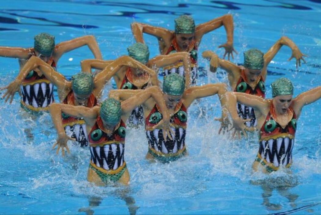 España sólo sobresalió en la natación sincronizada, donde las chicas log...