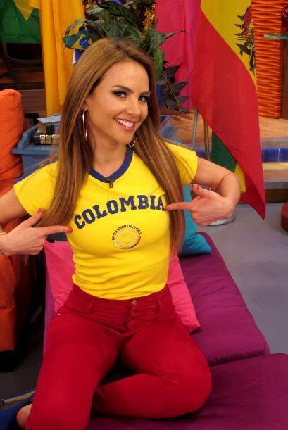 Ximena Córdoba luciendo la camiseta de Colombia.