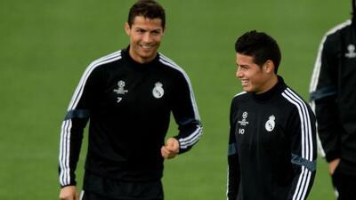 El portugués y el colombiano durante el entrenamiento del Real Madrid.