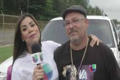 Shanira Blanco fue hasta el aeropuerto, en Carolina, junto con el padre...