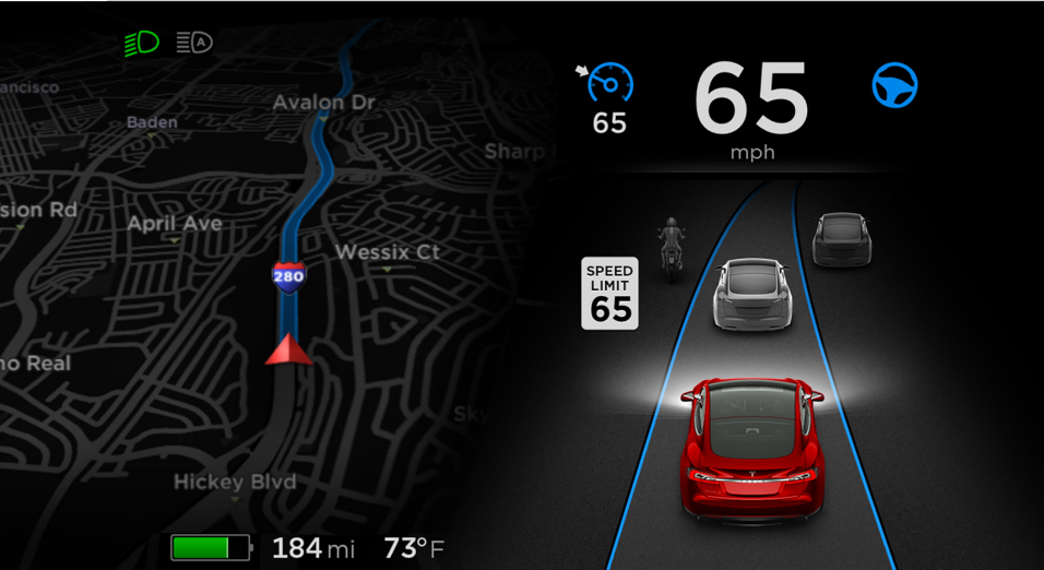 Interface del sistema Autopilot de Tesla en el Model S