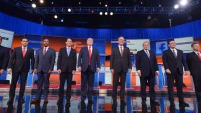 Imagen de los precandidatos republicanos en el primer debate.