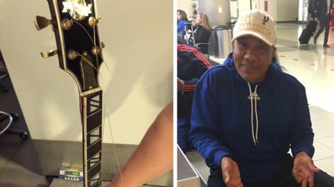 Guitarra rota y Lupe Esparza en el aeropuerto