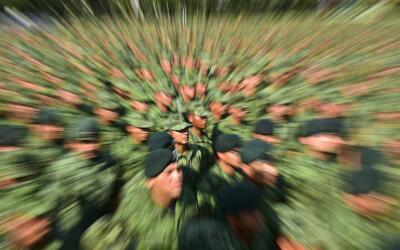 Soldados mexicanos en el acto de disculpa pública por las recientes acus...