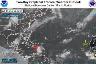 La imagen de la tormenta tropical Erika.