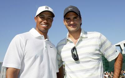 Woods y Federer durante los CA World Golf Championships en 2007.