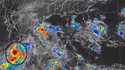 Imagen de satélite del huracán Odile del Servicio Meteorológico Nacional...