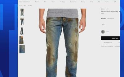 Jeans aparentemente sucios de lodo, la nueva y costosa tendencia de moda