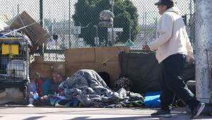 Indigente en las calles de Los Ángeles