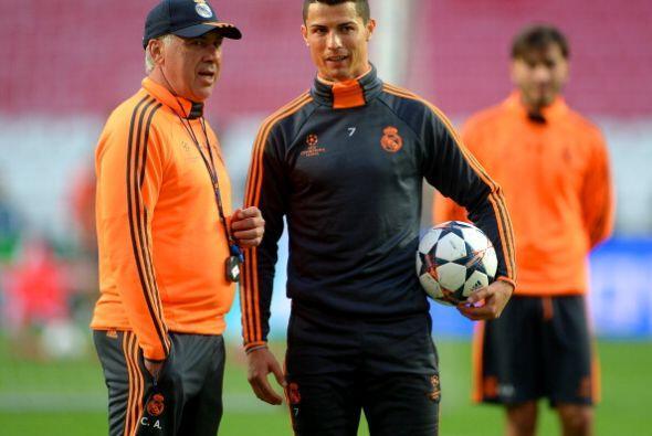 Ancelotti y Cristiano muy cerca planeado el partido.