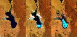 Imágenes satelitales muestran la desaparición del lago Poopó.