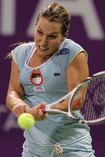 Slovak Dominika Cibulkova, tenista de profesión, y su cara partic...