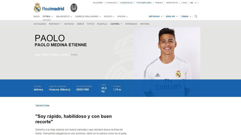 Paolo Medina está en las filas inferiores del Real Madrid con el...