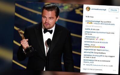 Ex novia de Leonardo DiCaprio celebra su Oscar