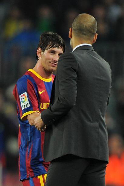 Ya con ese resultado, Guardiola decidió sacar a Messi para que la...