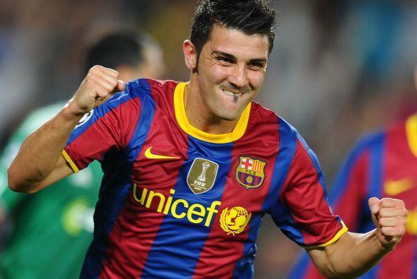 David Villa hizo su primer tanto en torneos europeos con la camiseta del...