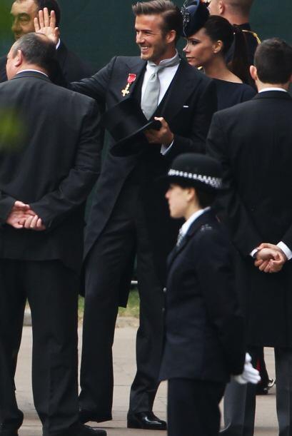 Beckham, con su habitual simpatía, saludaba a los presentes en la...