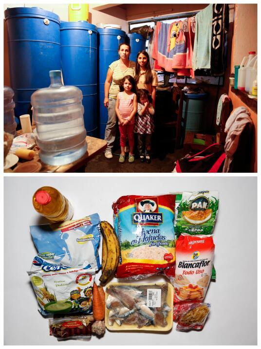 """En la foto, Yaneidy Guzmán acompañada por sus hijas. """"Ahora comer es un..."""