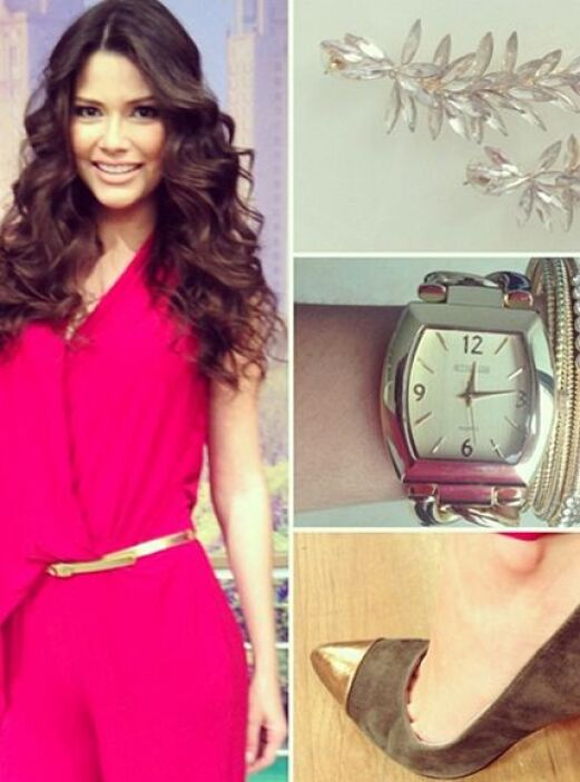 Enero 9, 2014: JumpSuit, aretes, el juego de reloj con las pulseras y la...