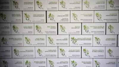 Una pared en Sevilla con placas de cartón mostrando los nombres de algun...