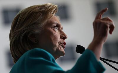 La candidata demócrata Hillary Clinton durante un mitin en Trucke...