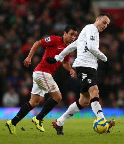 Berbatov regresaba a 'Old Trafford' pero no estuvo muy afortunado.