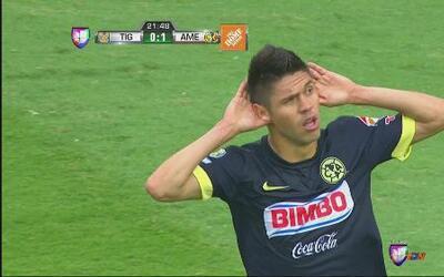 Tigres vs América: Oribe Peralta con gran remate de ángulo cerrado anota...