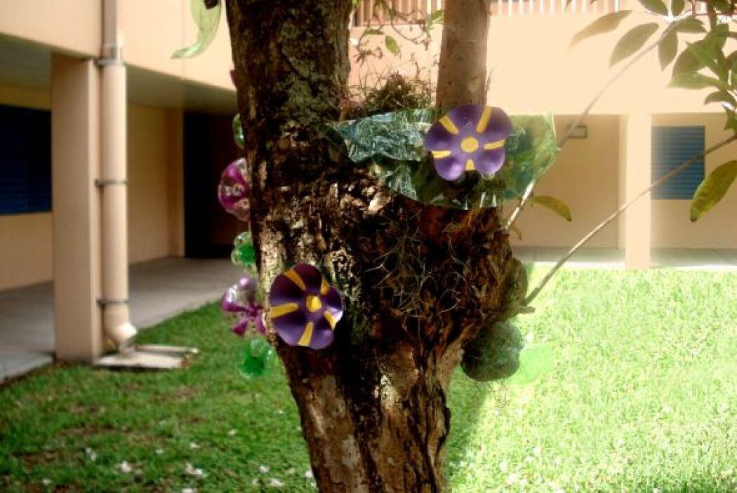 Como orquídeas, estas flores plásticas crecen sobre el tronco de un árbol.