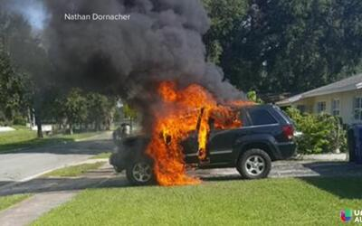 Incendio de una Jeep Grand Cherokee por causa de un Galaxy Note 7