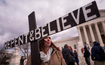 Una mujer en la Marcha por la Vida, realizada el 27 de enero en Washingt...