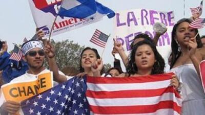 Manifestación a favor de los inmigrantes indocumentados.
