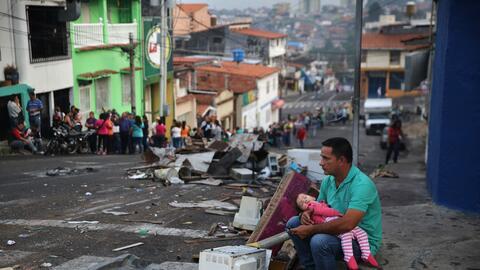 Protesta antigubernamental en el occidental estado de Táchira dur...