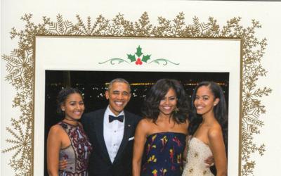 La familia Obama eligió una foto tomada durante la cena de Estado...