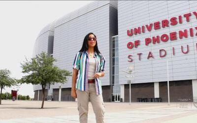 Natalíz se fue a Phoenix y visitó el University of Phoenix Stadium