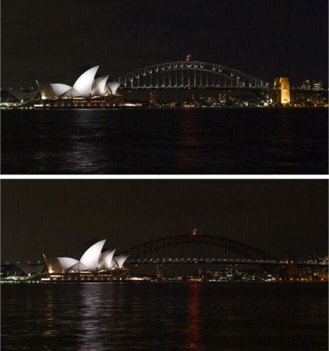 El emblemático puente de Sidney se unió en la oscuridad en el marco de e...