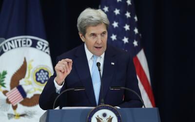 John Kerry, actual secretario de Estado, durante la intervención...