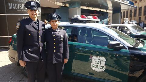 Los policías y pareja de esposos, Matías y Stephanie Sarto...