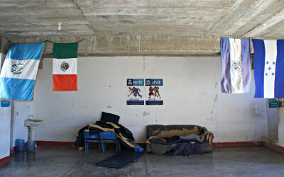 A man rests in a migrant shelter in Chiapas, Mexico, in December 2016.