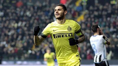 El argentino MAuro Icardi marcó dos goles al Udinese